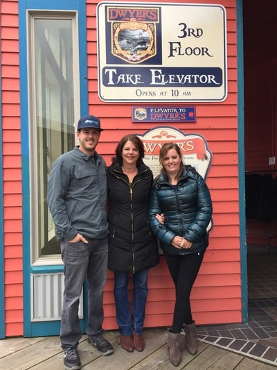 Sean Dwyer with his family in front of Dwyer's restaurant in Ketchikan, Alaska