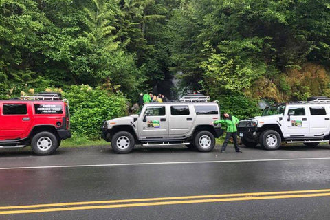A group renting hummers for the day in Ketchikan, Alaska