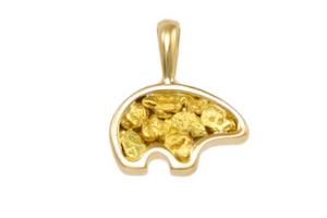 12MM natural gold nugget bear pendant in 14k