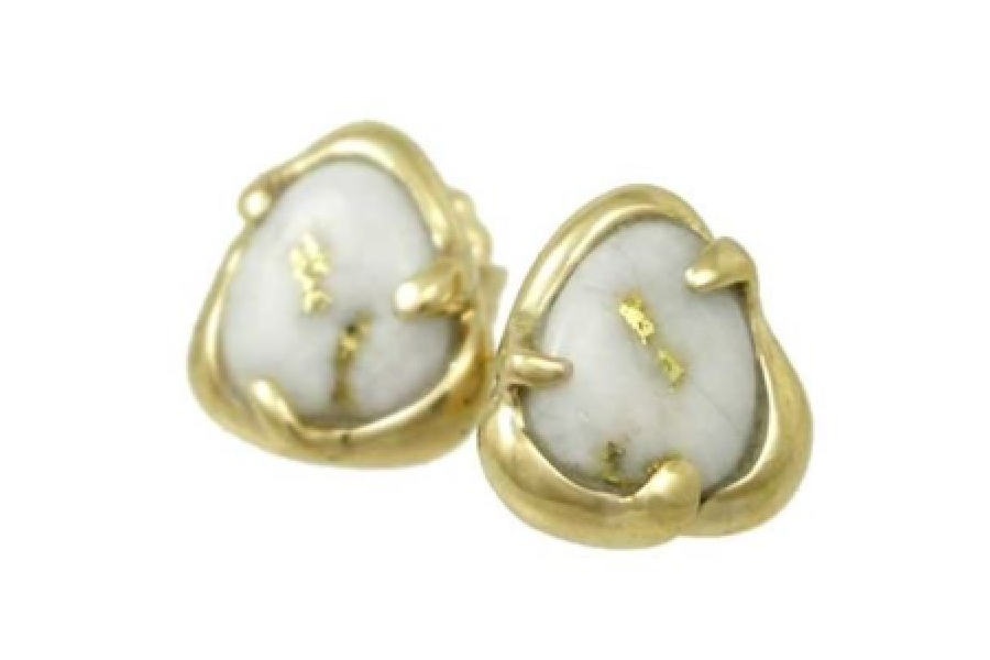 Gold quartz stud earrings by Orocal