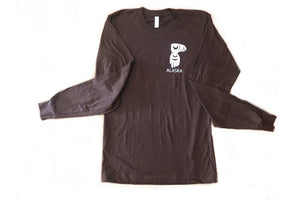 Long sleeve totemic t-shirt with Lynch & Kennedy logo in brown