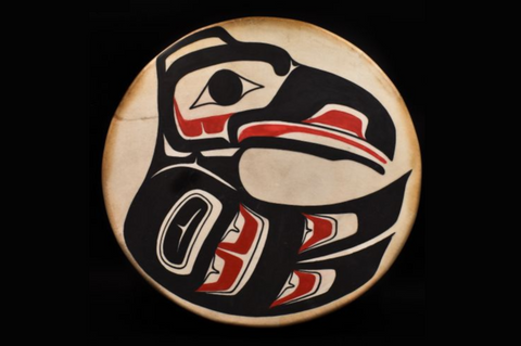 Alaska Tlingit Native Indian Drum by Mt. Juneau Trading Post