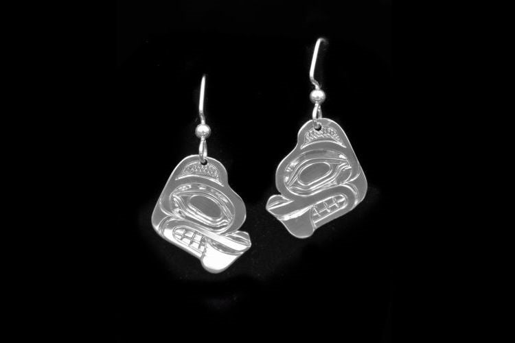 NW Coast Native totemic beaver earrings in sterling silver