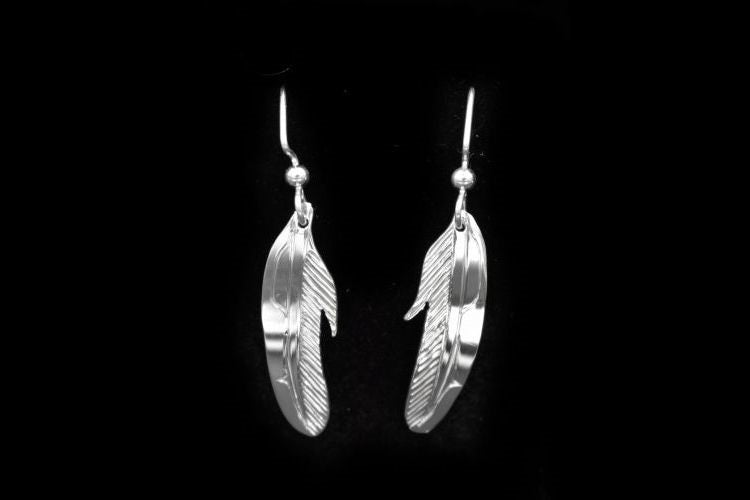 NW Coast Native totemic feather earrings in sterling silver