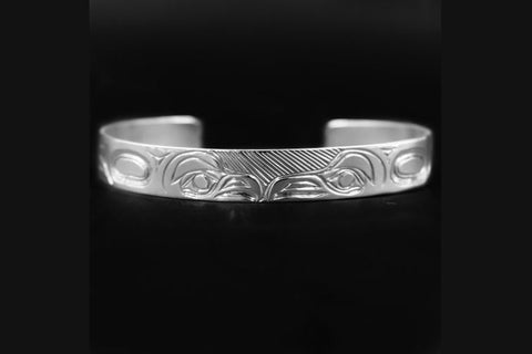 NW Coast Native totemic lovebird bracelet in sterling silver