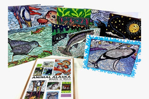 Evon Zerbetz art cards with Alaskan animals