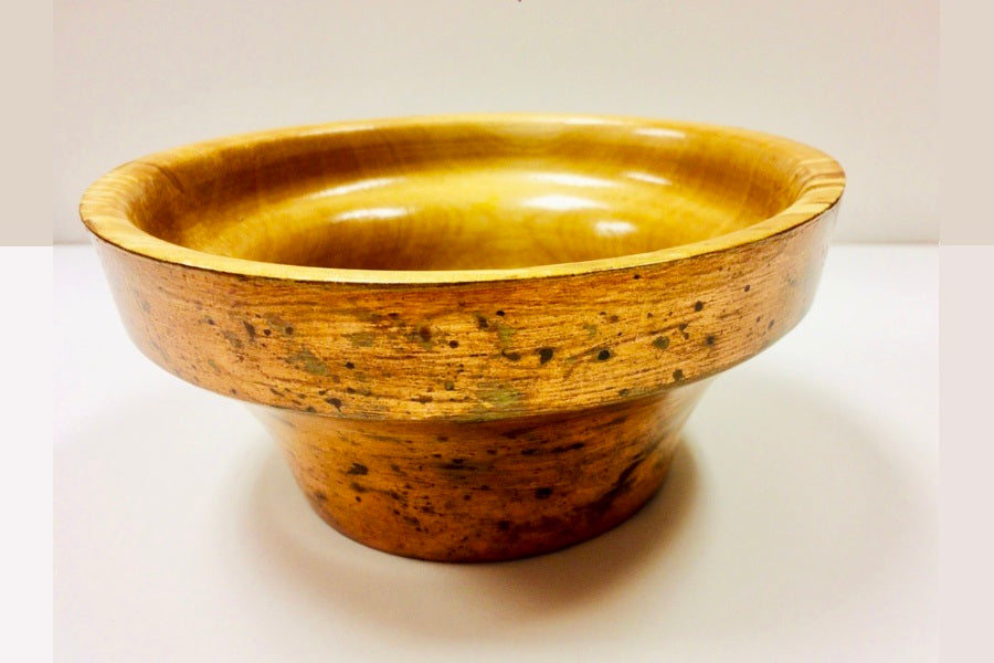 Hand Turned Spalted Alder Bowl with Copper Gilding