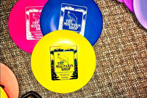 The Mountain Shop has a great Innova disc golf disc selection, with custom Mountain Shop logo on the face of each disc