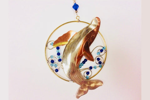 Dancing humpback whale metal Christmas Ornament by Pilgrim Imports