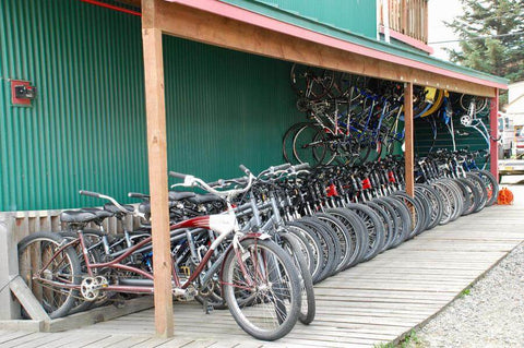 Bikes for rent at Sockeye Cycle in Skagway, Alaska