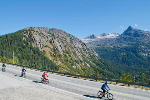 Biking down the Klondike Highway with Sockeye Cycle in Skagway, Alaska