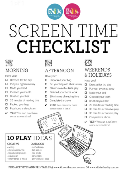Screen Time Check List for Children