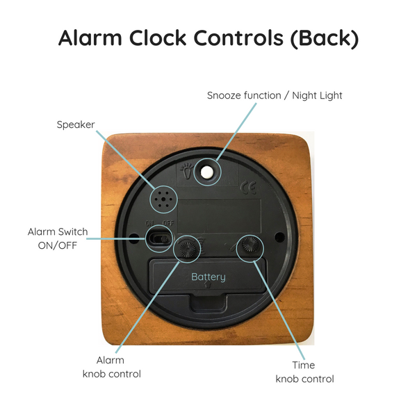 Analog alarm clock controls