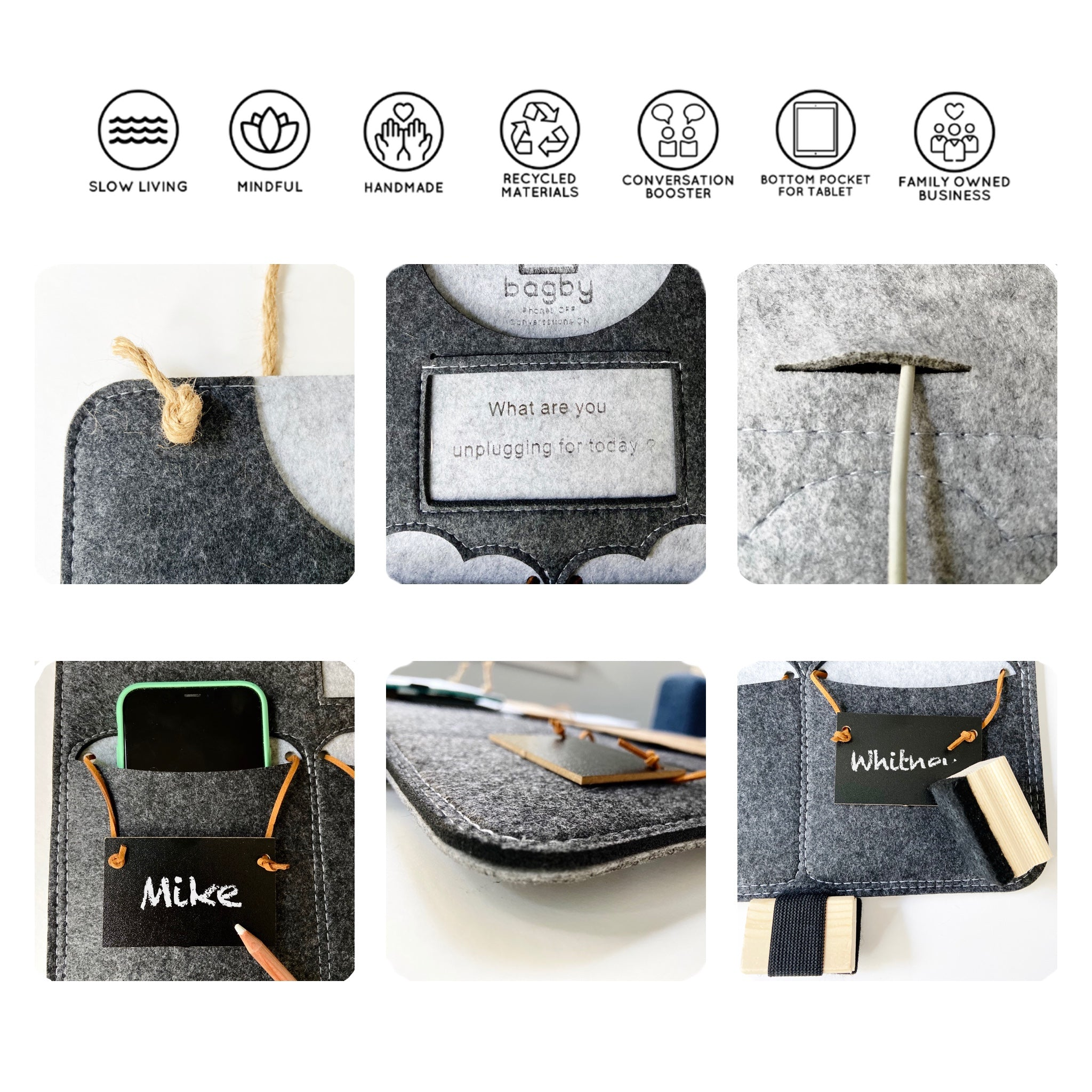 Bagby Social - Mindful Phone / Tablet Holder 6+1 Pockets