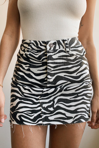 Wild Thing Zebra Mini Skirt