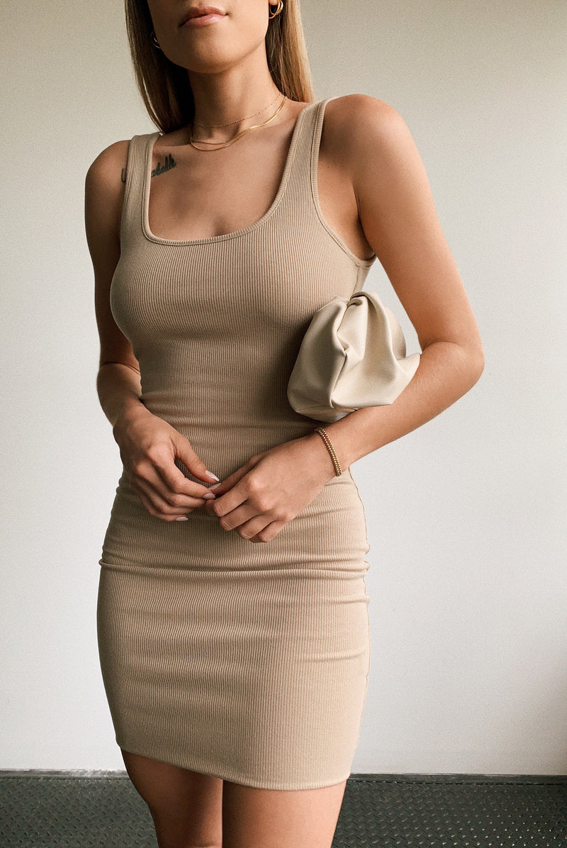 Latte Ribbed Mini Dress