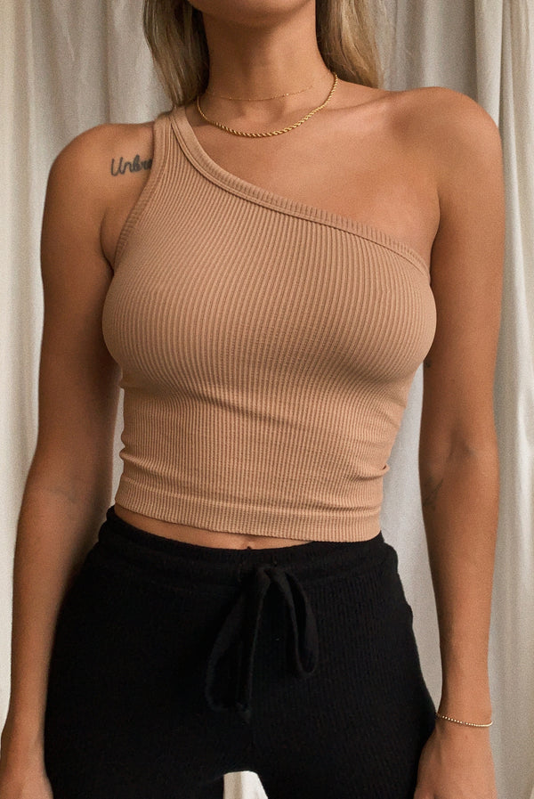 Sahara One Shoulder Ribbed Top
