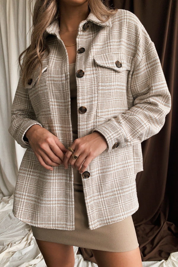 Eyes On You Plaid Shacket Cream
