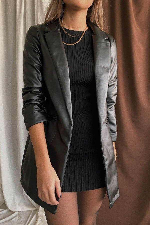 Annie Faux Leather Oversized Blazer
