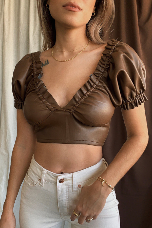 East Coast Vegan Leather Crop Top
