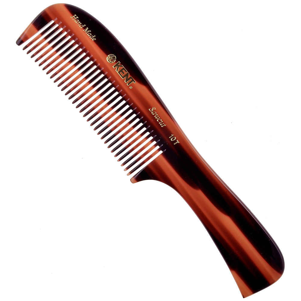 "Kent 10T 8"" Hand Made Wet/Thick Coarse Hair Rake Comb, Sawcut"