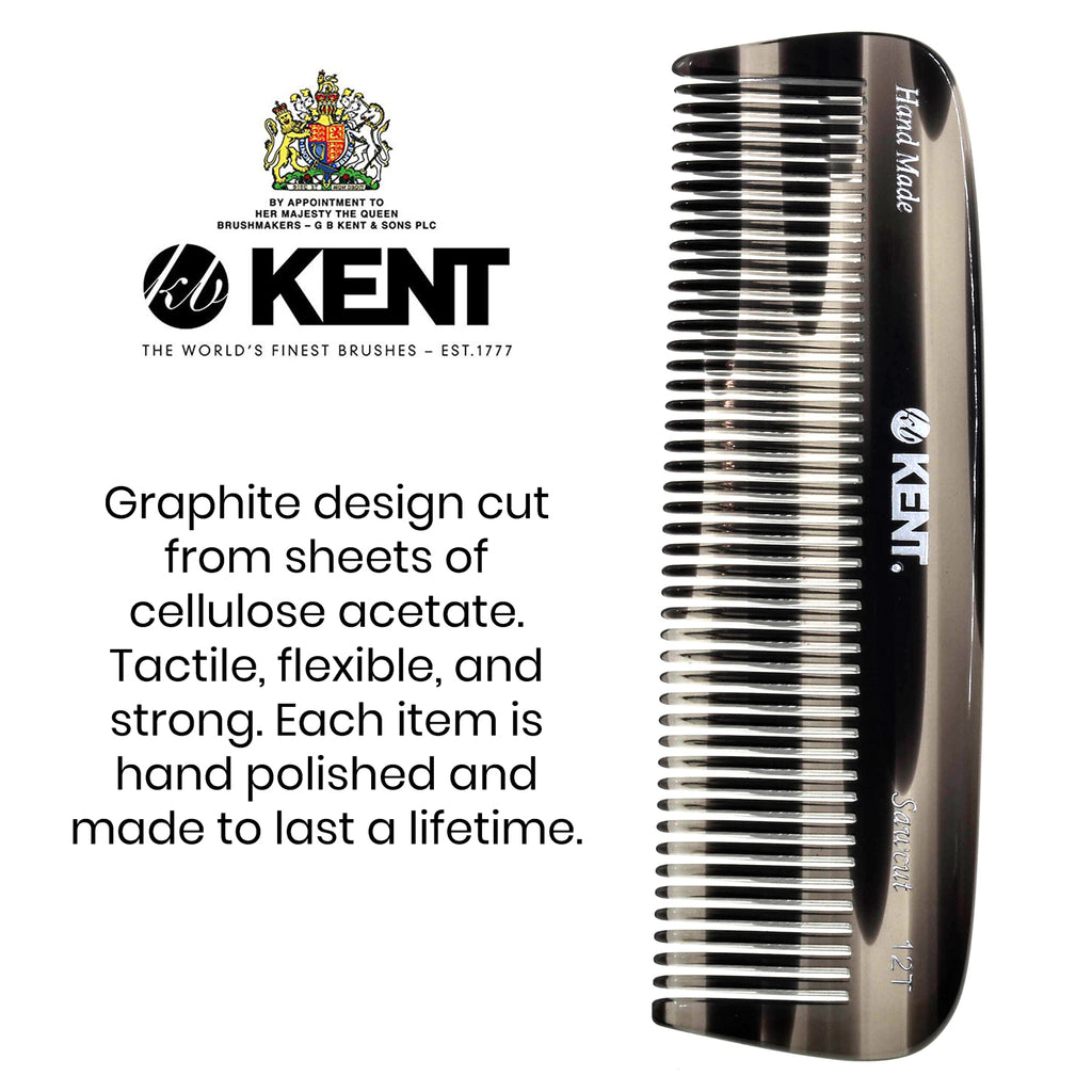 "Kent 12T 5"" Handmade Comb Medium Size for Thick Coarse Hair. Saw-cut"