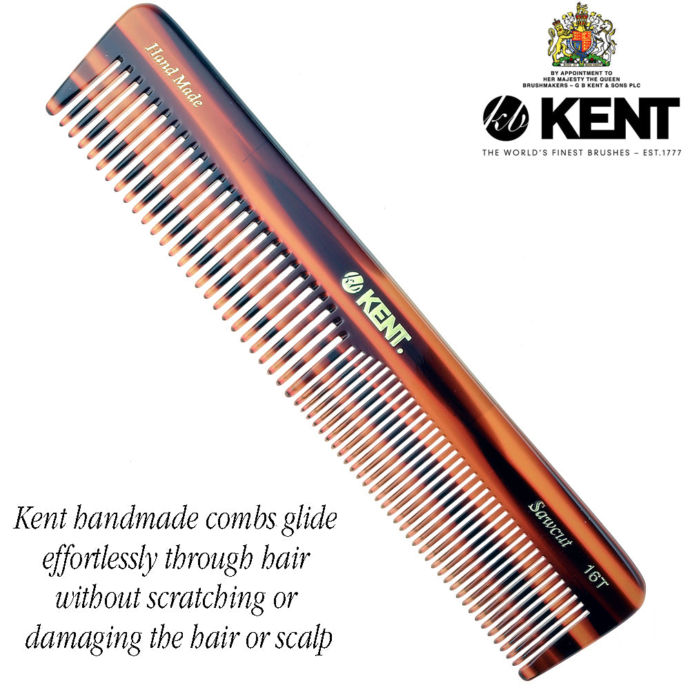 "Kent 16T 7"" Hand Made Comb Coarse & Fine Men Women. Saw-Cut Tortoise"