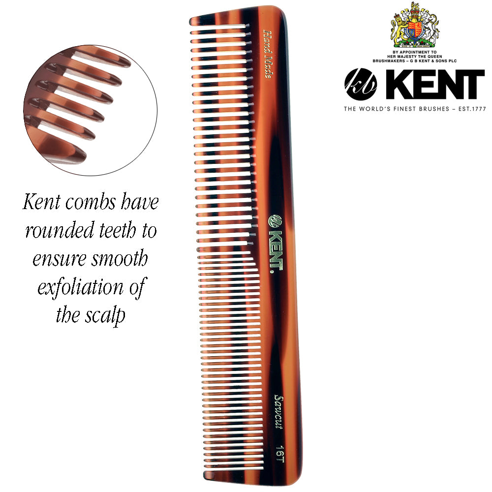 "Kent 16T 7"" Double Tooth Hair Dressing Table Comb, Fine and Wide Tooth"