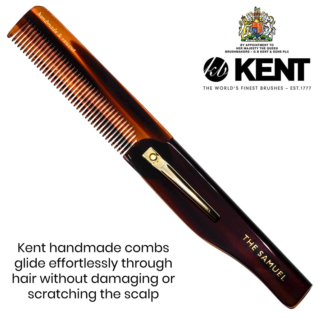 "Kent 20T 3 3/4"" 100mm Fine Tooth Folding Comb with Pocket Clip. Sawcut"