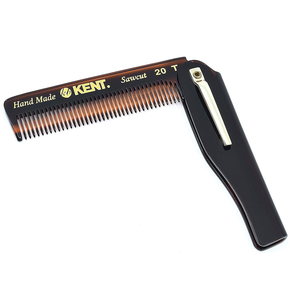 Kent 20T 3.75 Inch Men Fine Tooth Folding Pocket Comb with Pocket Clip