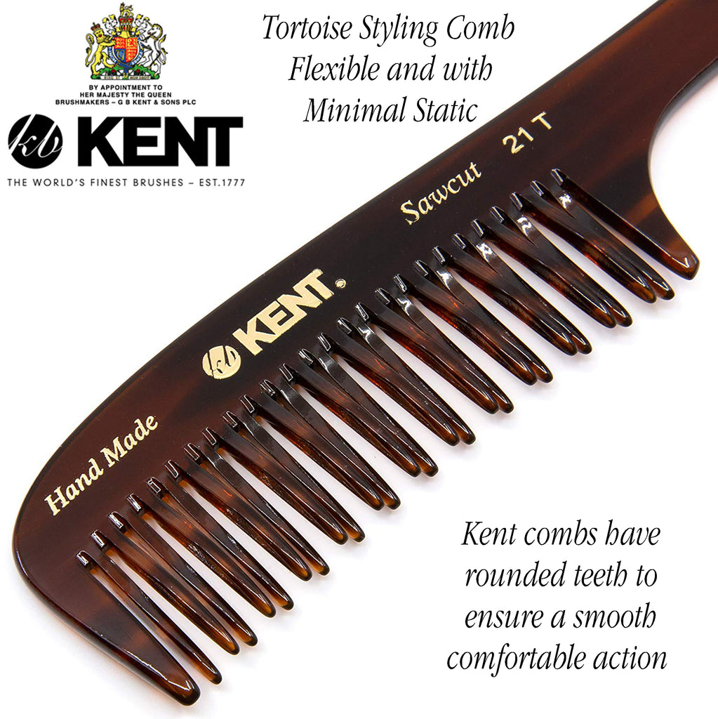Kent 21T Hand Made Wide Teeth Rake Curved Double-Row Detangle Comb