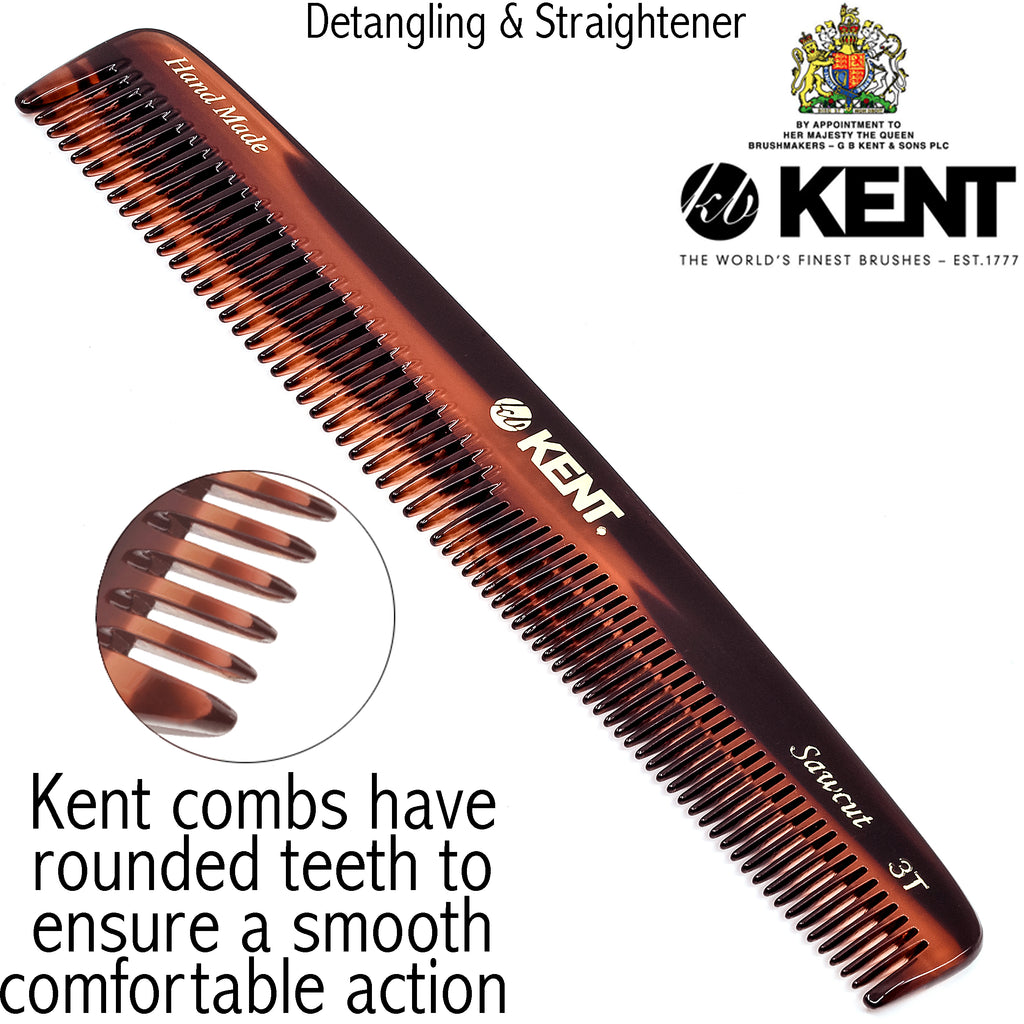 "Kent 3T 6 1/2"" 160mm Handmade Dressing Comb Coarse and Fine Toothed Sawcut"