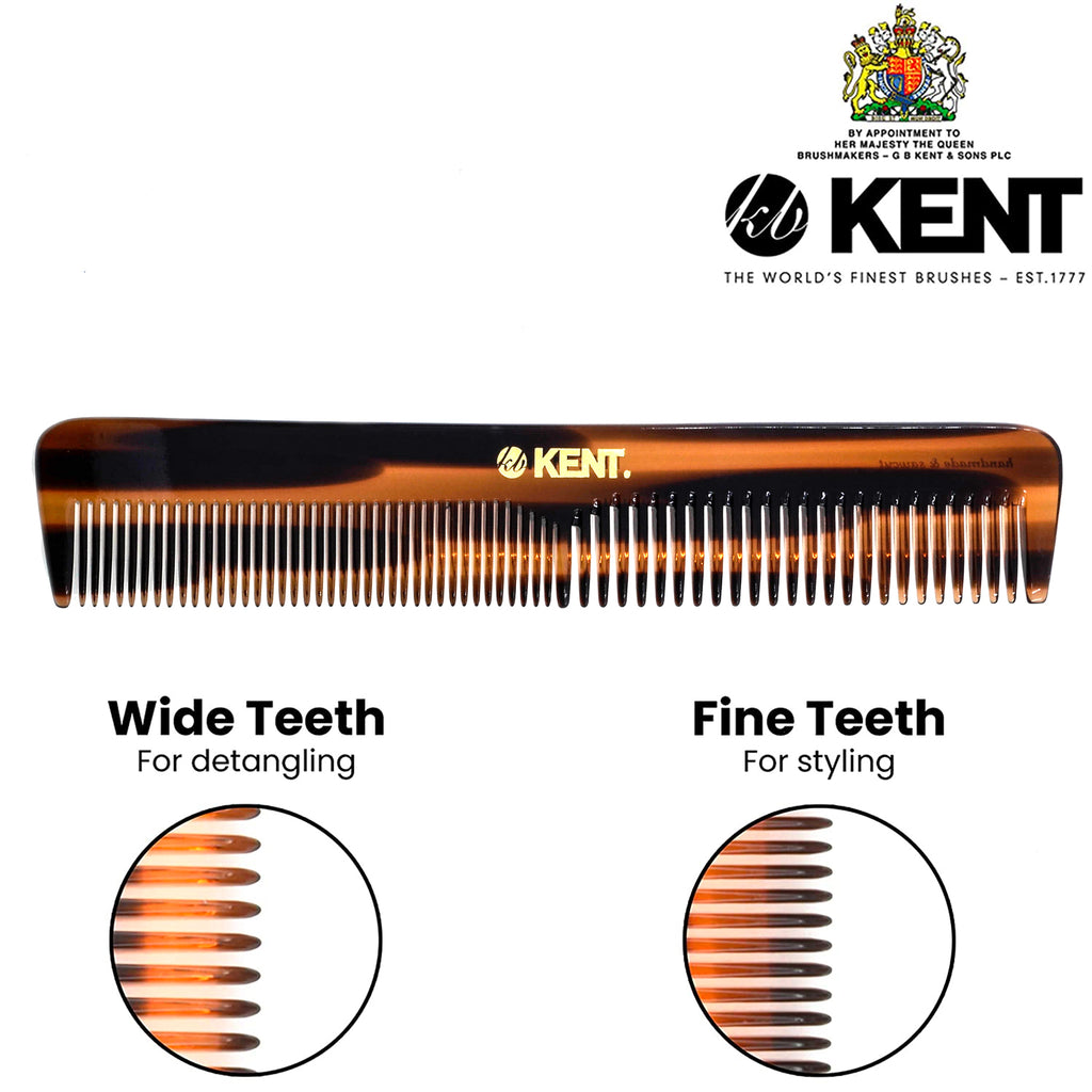 "Kent 5T 6.5"" 175 mm The Hand Made Coarse / Fine Toothed Comb for Men. Sawcut"