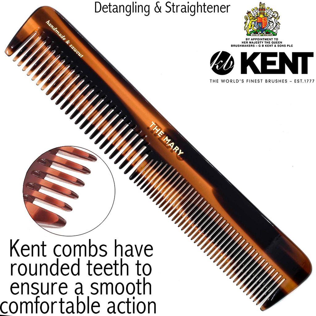 Kent 5T 6.6 Inch Hair Dressing Comb, Fine and Wide Tooth Dresser Comb