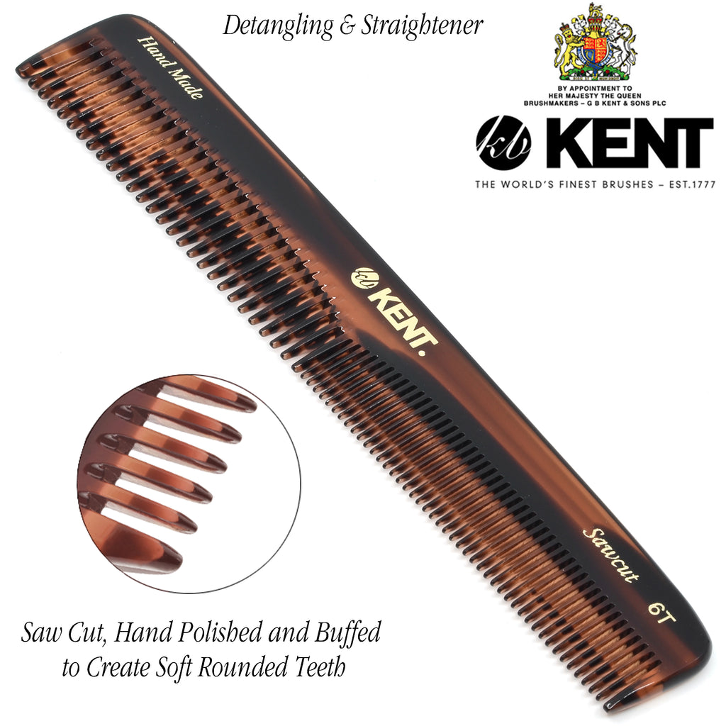 "Kent 6T 6.5"" 175mm Hand Made Dressing Table Comb Coarse / Fine for Men. Sawcut"