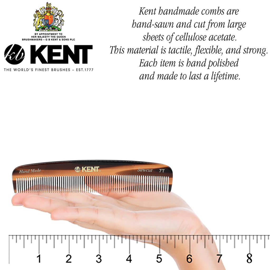 "Kent 7T 5 1/2"" Hand-Made All Fine Teeth Pocket Comb for Men & Women."