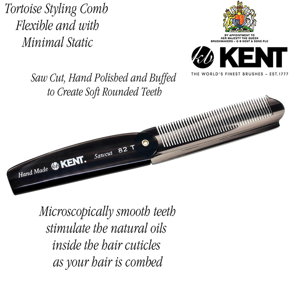 "Kent 82T 4"" Handmade Fine Folding Pocket Comb for Men. Sawcut"