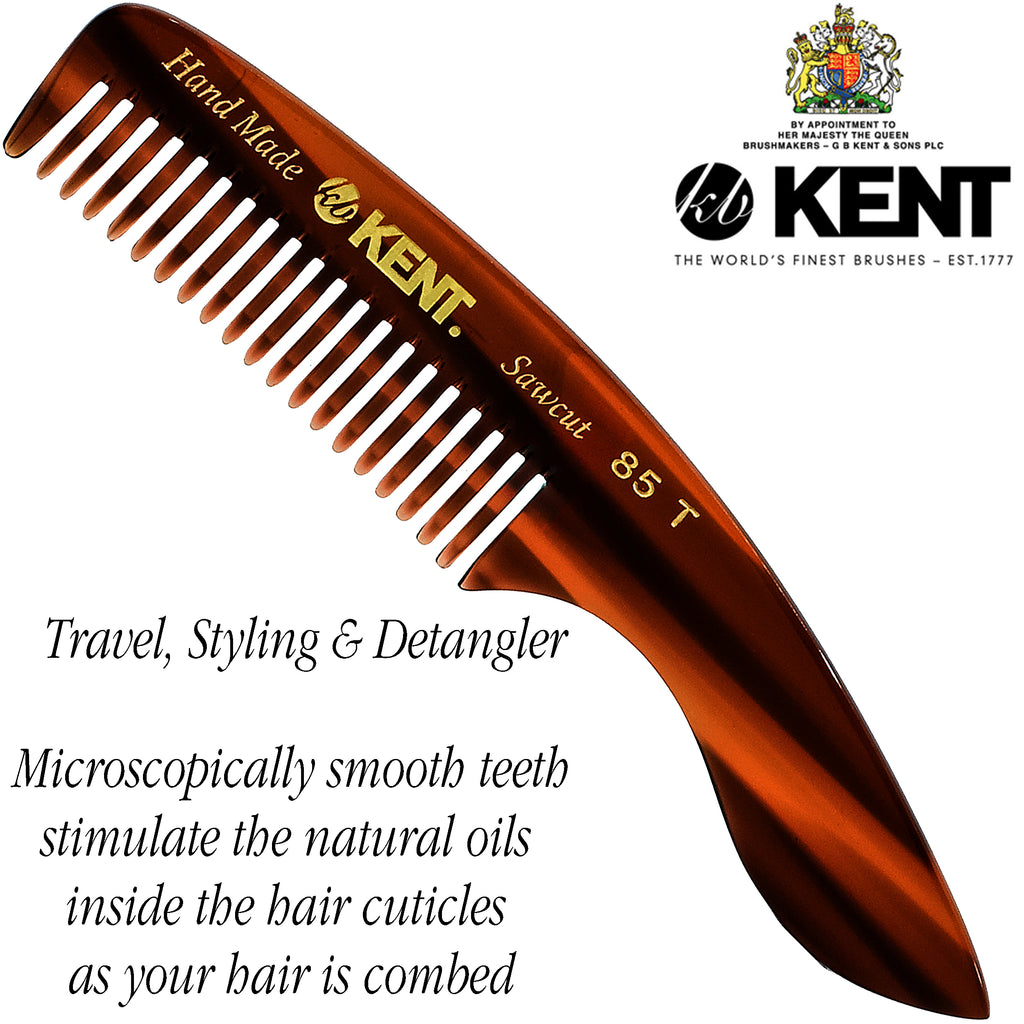 "Kent 85T 4.75"" Small Men's Fine Pocket Beard & Mustache Comb. Saw-Cut."