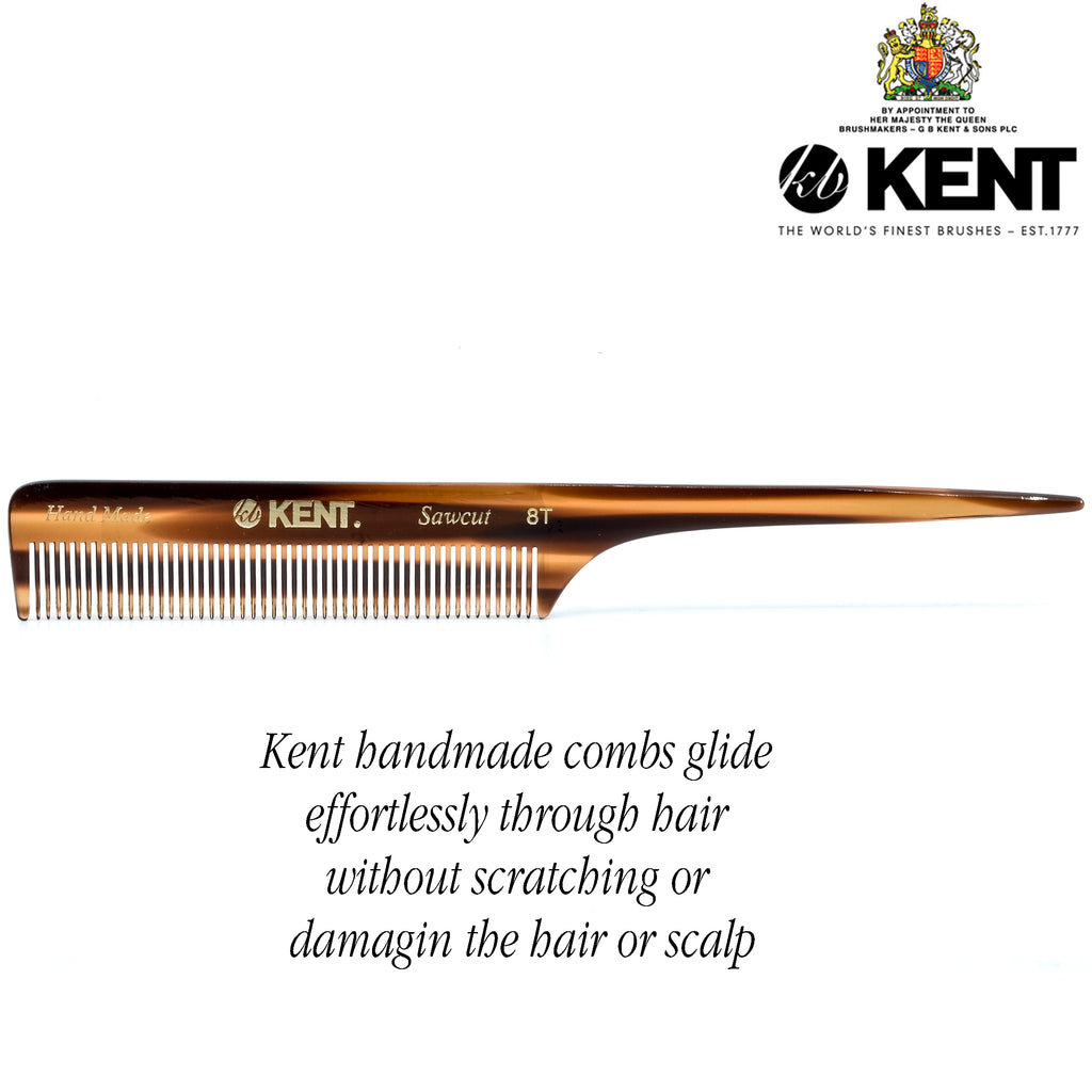 "Kent 8T 8"" 197mm Handmade Fine Tail Comb for Men and Women. Sawcut"