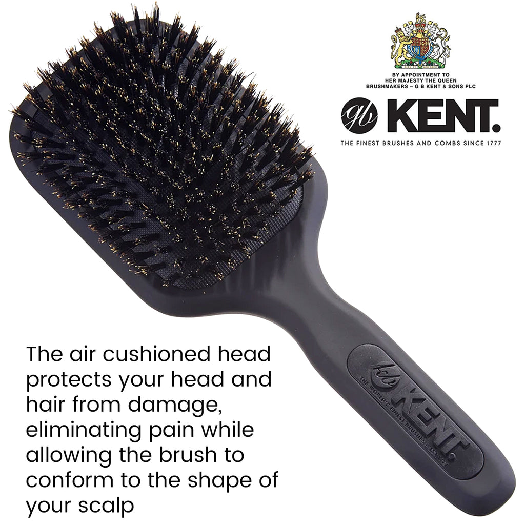 Kent AH13G Gray Airhedz Pro Pure Bristle Paddle Brush