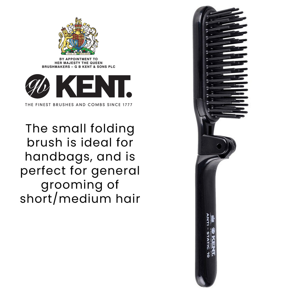 Kent AS10 Folding Hair Brush with Rubber Pad, Nylon Quill, Anti-Static Travel / Purse Size