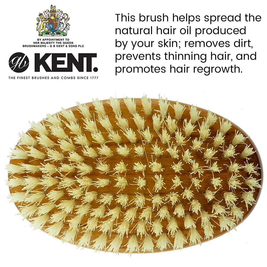 Kent BB Men's Beard and Mustache Brush, Specially Cut Boar Bristle