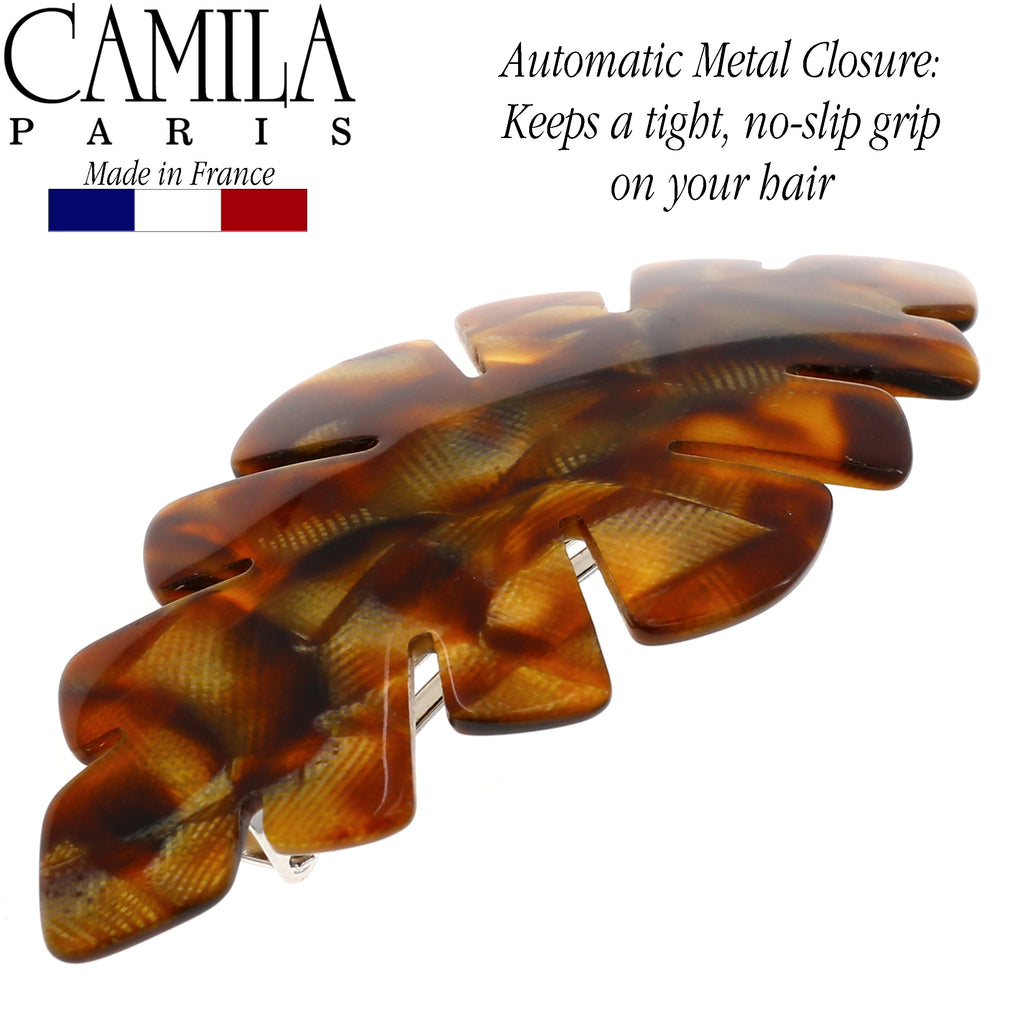 Camila Paris CP2479 Handmade Beige French Hair Barrette Automatic Clasp