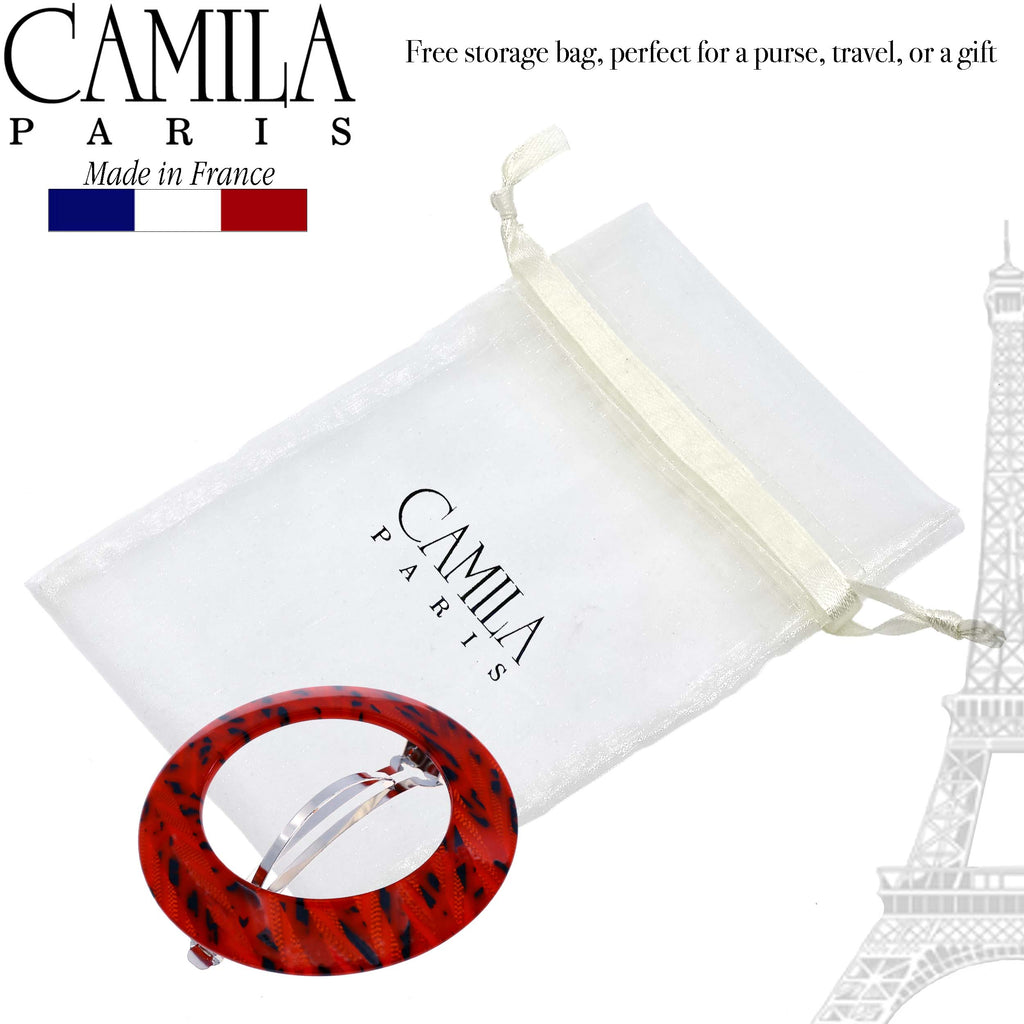 Camila Paris CP2513 Handmade Red French Hair Barrette Round Automatic