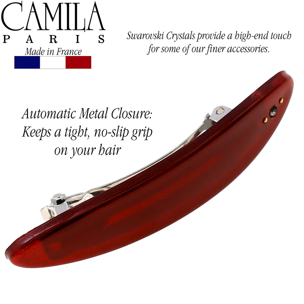 Camila Paris CP2542 Red French Hair Barrette Automatic Clasp Crystals