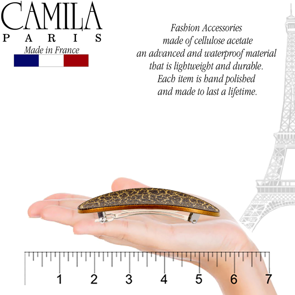 Camila Paris CP2570 Brown French Hair Barrette Oval Automatic Clasp