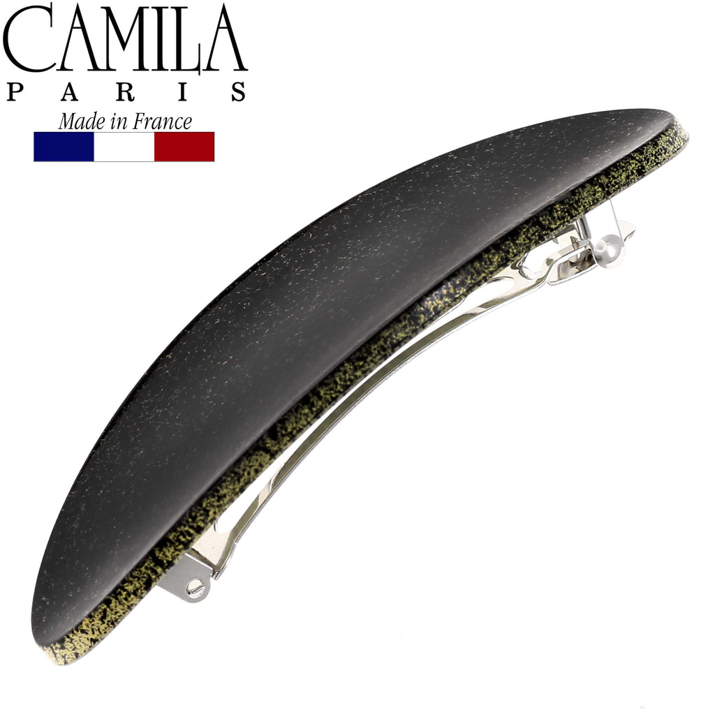 Camila Paris CP2578 Classic Black French Hair Barrette Oval Automatic