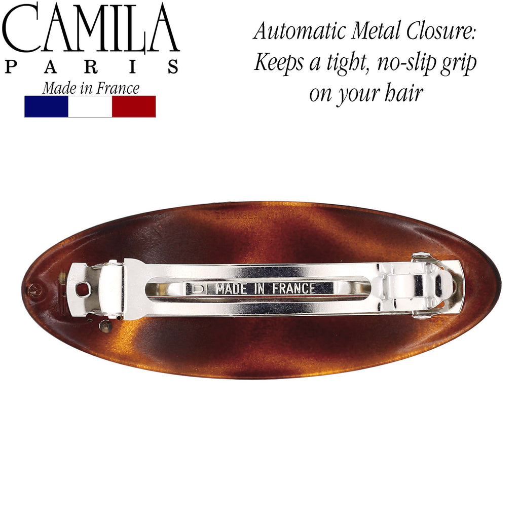 Camila Paris CP2612 Large Tortoise French Hair Barrette Oval Automatic