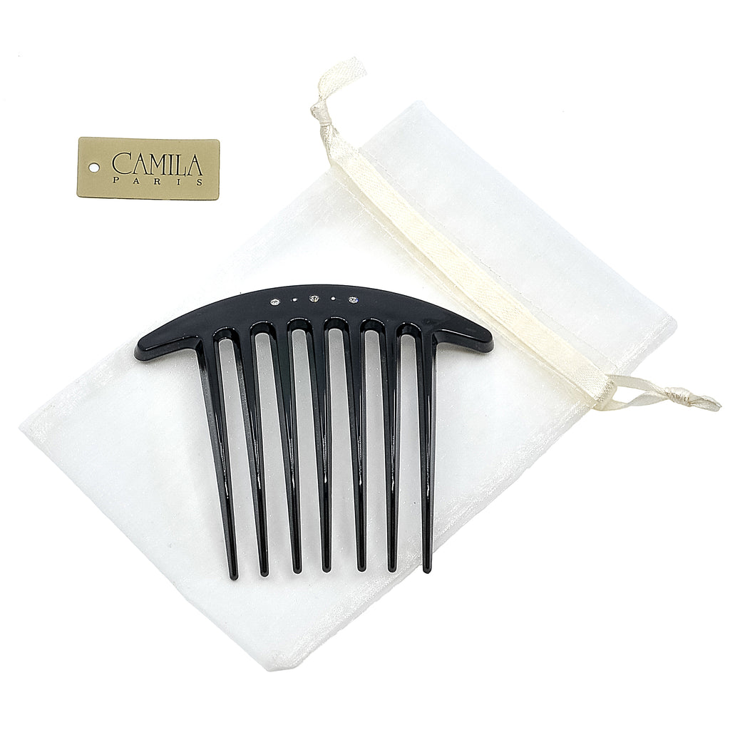 Camila Paris CP2655 Black French Hair Side Comb Swarovski Crystals