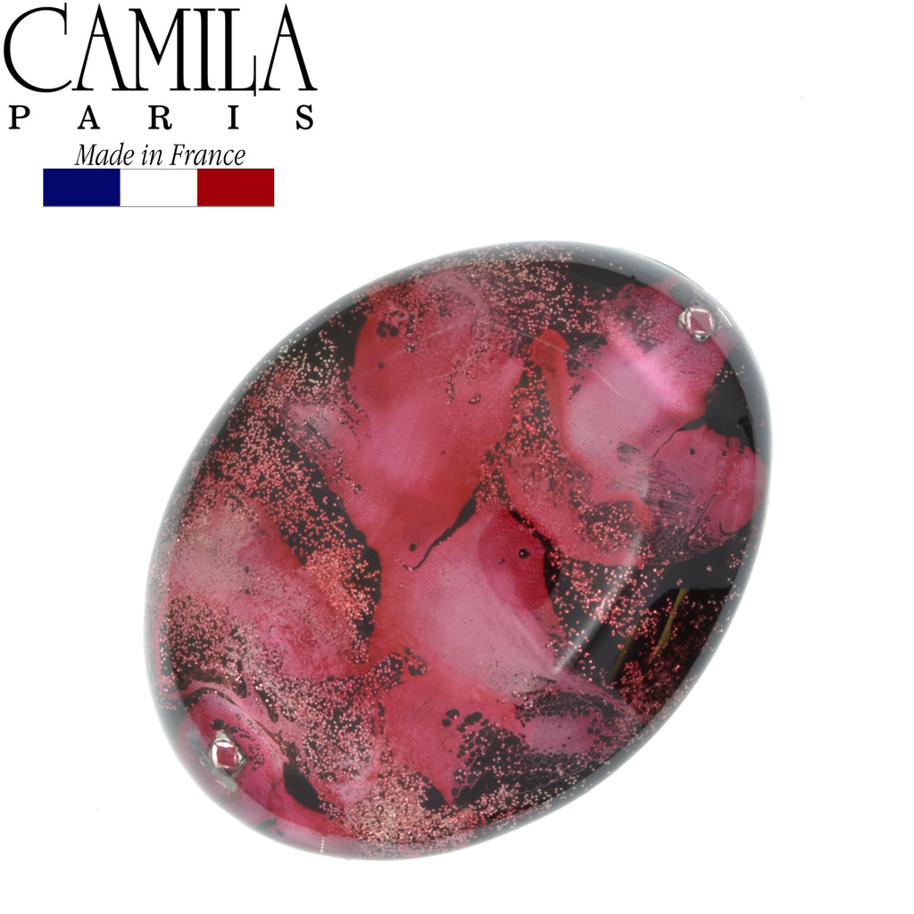 Camila Paris CP2697 Pink French Hair Barrette Round Rubberized Clasp